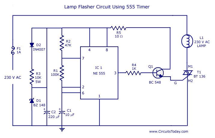 Pleasant Flasher Circuit Diagram Using Ne 555 Ic For Lamp Wiring Cloud Genionhyedimohammedshrineorg