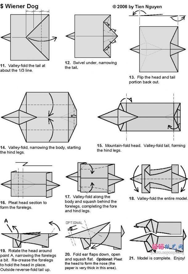 Easy Origami Dog - Make-Origami.com   890x610