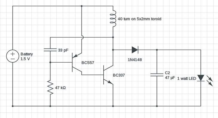 Marvelous 1 Watt Led Driver Circuit 1 5V Input Modified Joule Thief Wiring Cloud Rdonaheevemohammedshrineorg