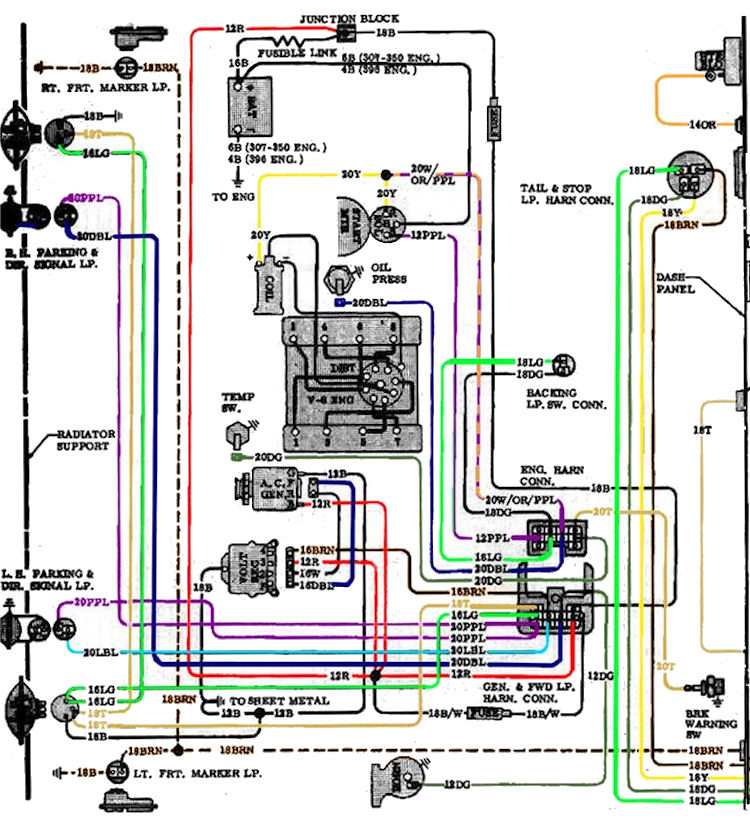 72 Chevy Ignition Switch Wiring Diagram / Gm Chevy Mid ...