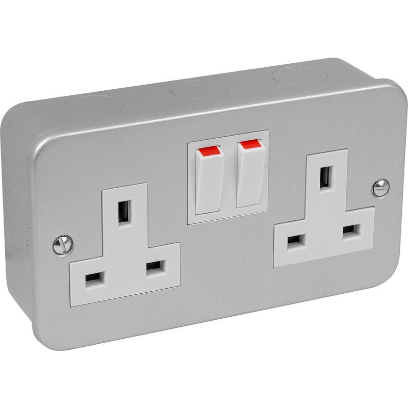 BG 2Gang Double Socket Metalclad surface metal un-switched Grey Steel Alm 2-Gang