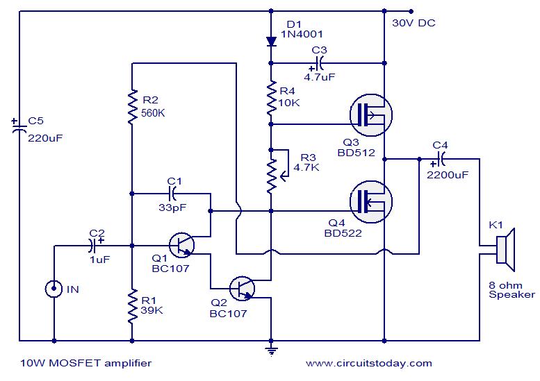 Groovy Popular Mosfet Audio Amplifier Circuits Circuit Diagrams Wiring Cloud Licukshollocom