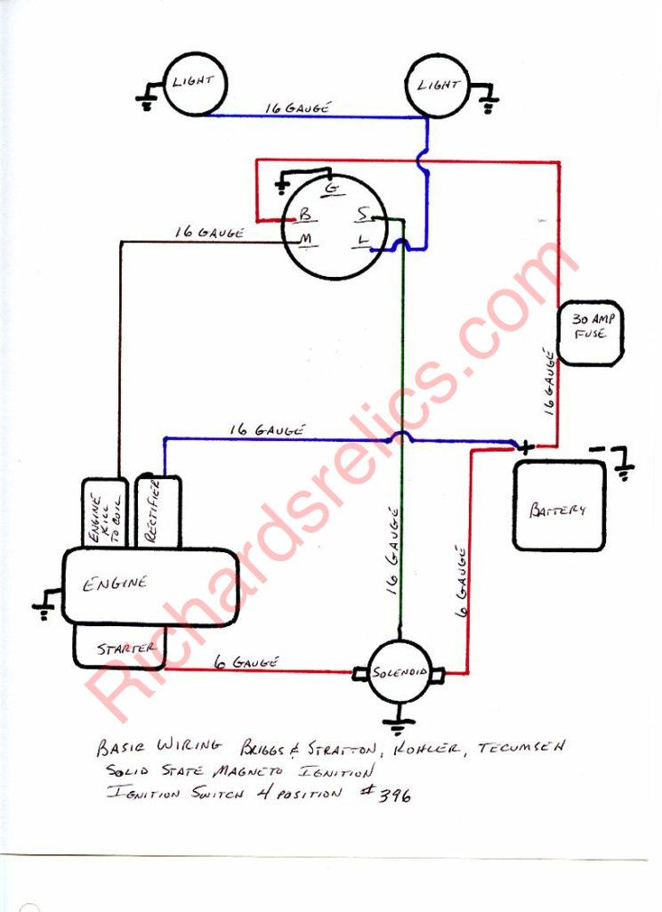 kohler engine ignition switch wiring diagram  battery for