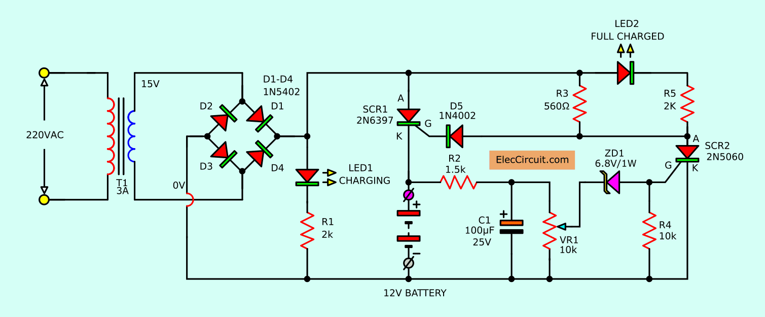 Amazing Automatic Battery Charger Circuit Projects Eleccircuit Com Wiring Cloud Filiciilluminateatxorg