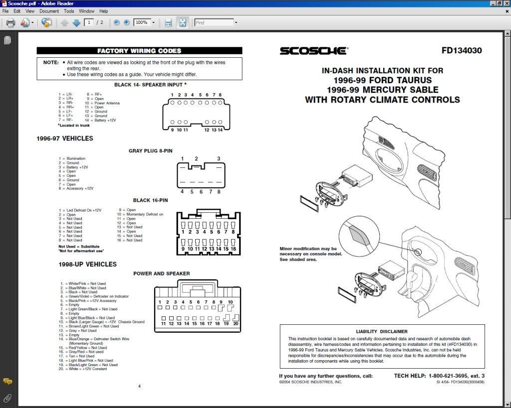 2004 Ford Taurus Stereo Wiring Diagram