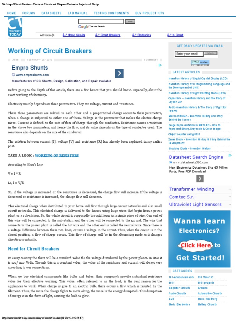 Prime Working Of Circuit Breakers Electronic Circuits And Diagram Wiring Cloud Eachirenstrafr09Org