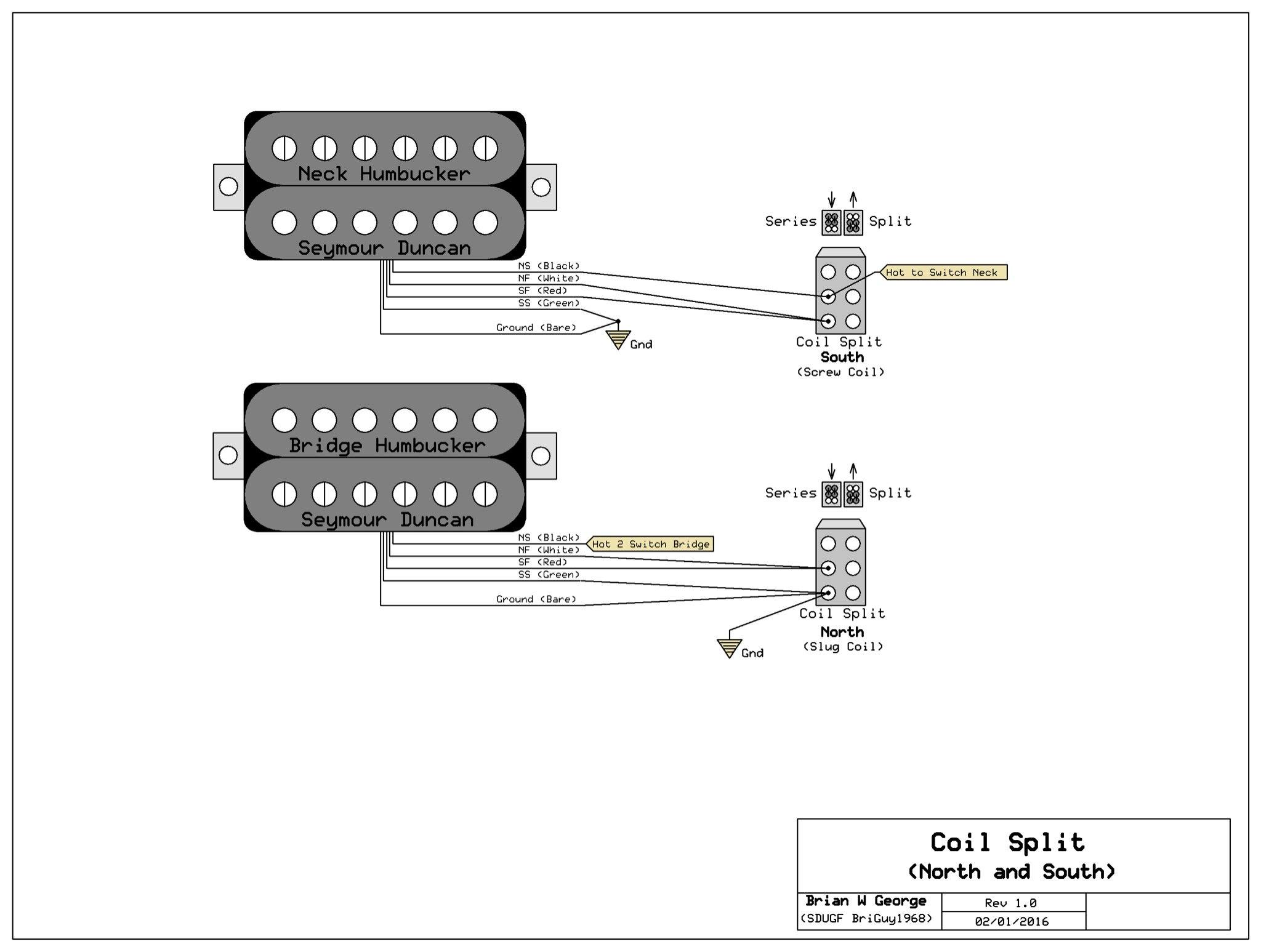Swell Splitting 2 Three Wires Humbucker With One 2 Way Toggel Switch Wiring Cloud Hemtegremohammedshrineorg