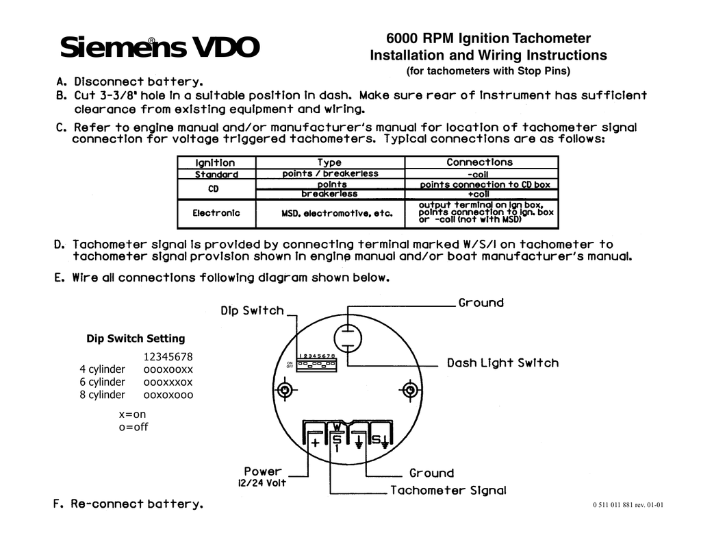 YC_9790] Vdo Wiring Instructions Including Vdo Tachometer Dip Switch  Settings Schematic WiringGue45 Umng Mohammedshrine Librar Wiring 101