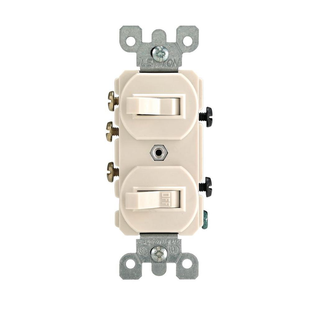 Miraculous Leviton 15 Amp 3 Way Combination Double Switch Light Almond R66 Wiring Cloud Ostrrenstrafr09Org