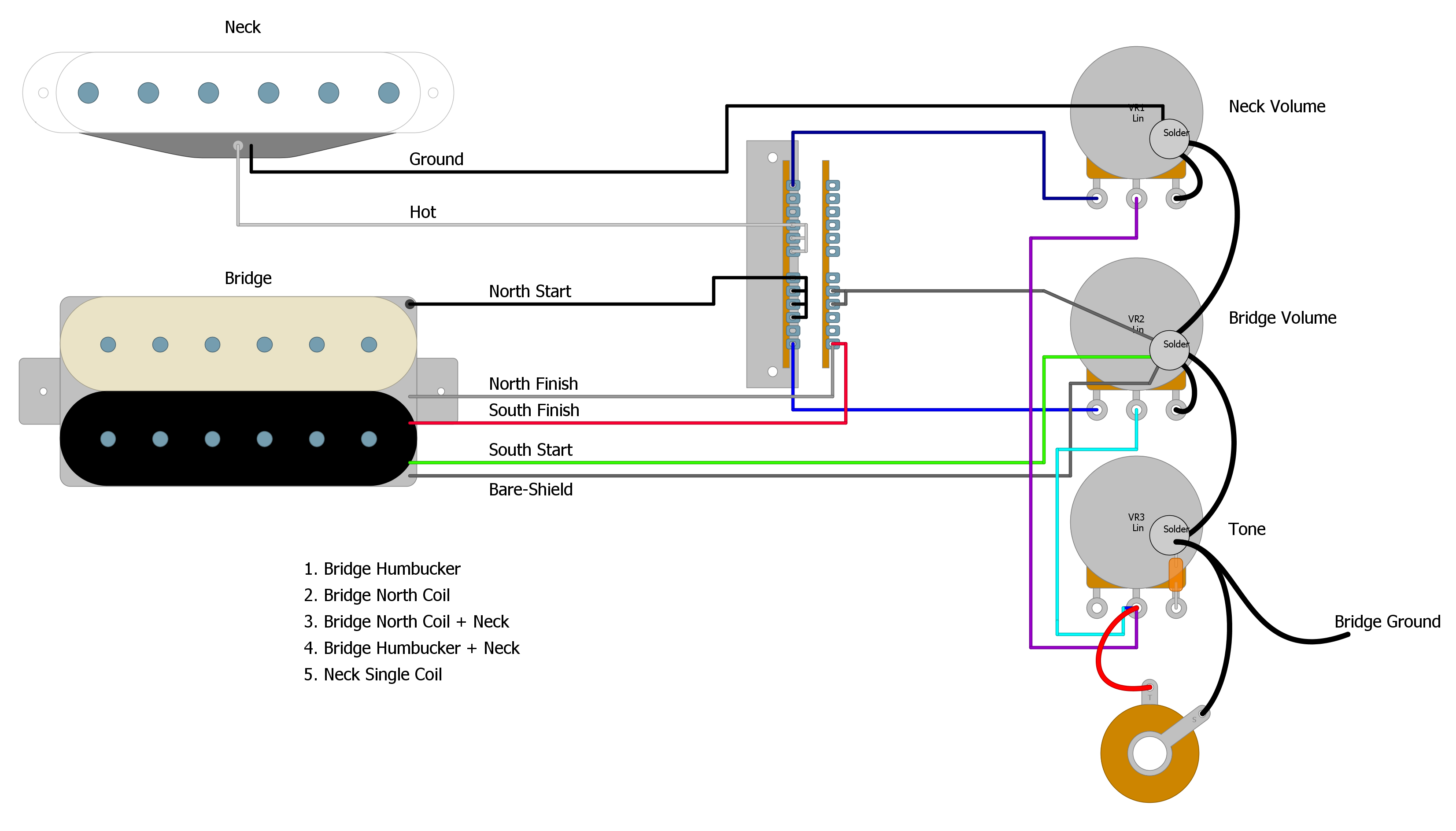 2 Single Coil 1 Humbucker Wiring Diagram