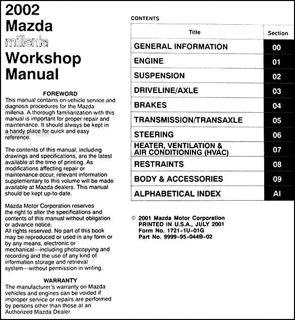 Ll 4300 2002 Mazda Millenia Engine Diagram Schematic Wiring