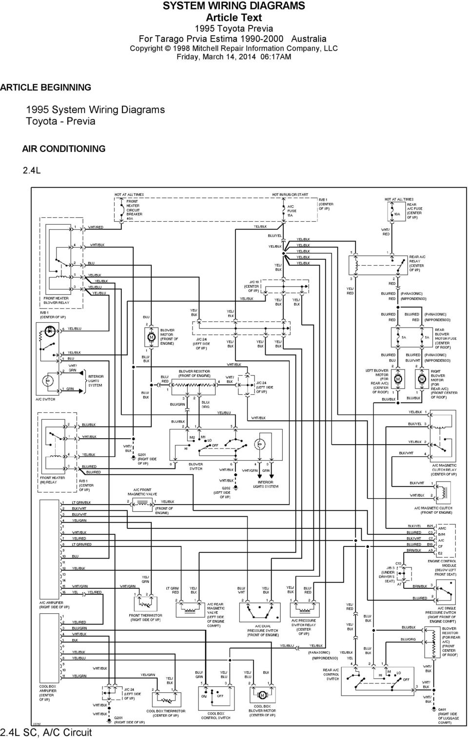 Toyota Previa Electrical Wiring Diagram
