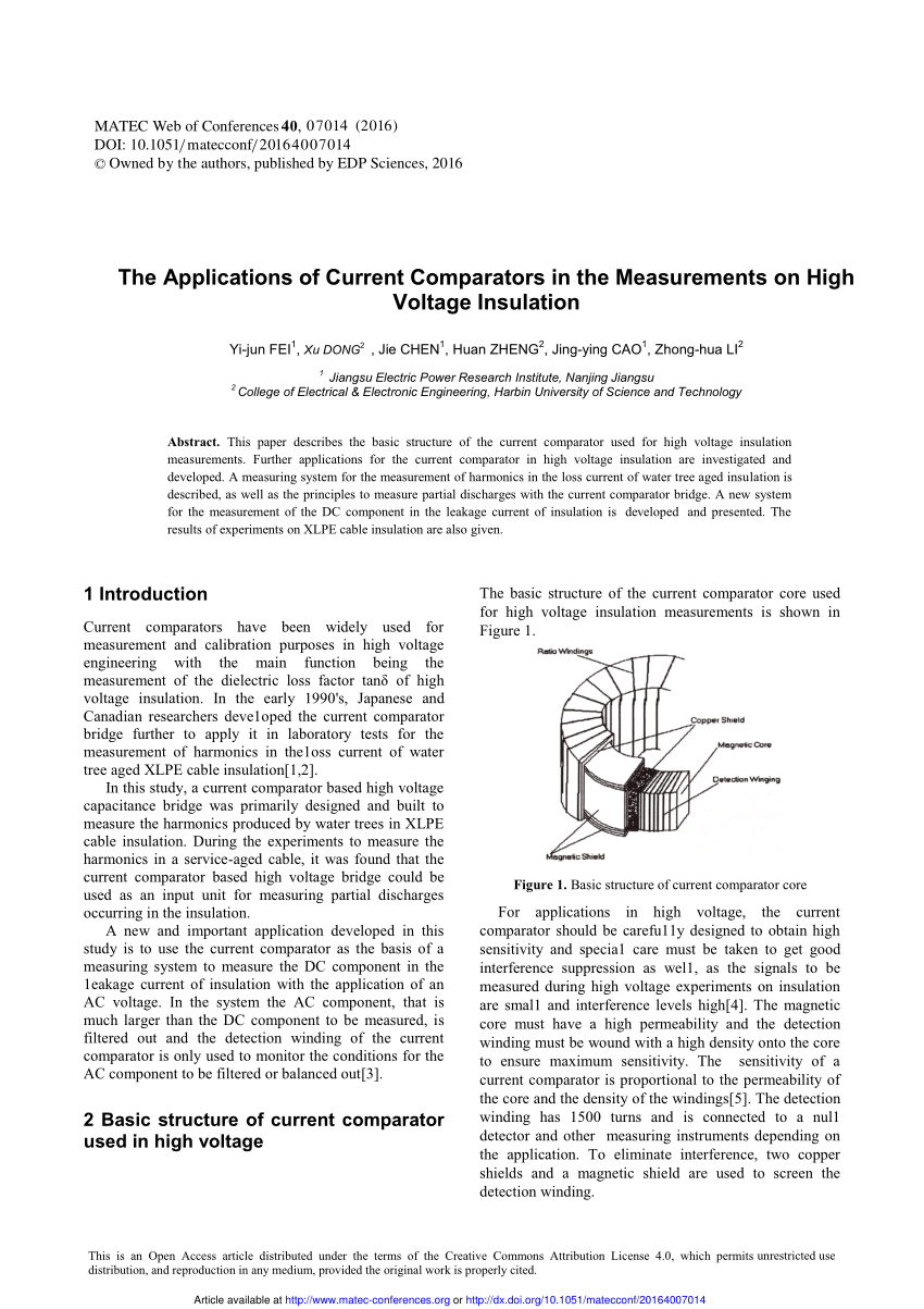 Fine Pdf The Applications Of Current Comparators In The Measurements On Wiring Cloud Uslyletkolfr09Org