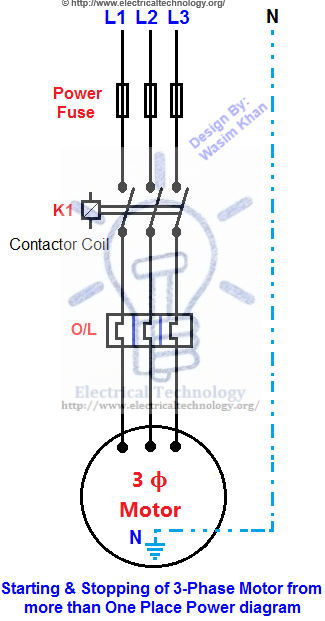 Swell Starting Stopping Of 3 Phase Motor From More Than One Wiring Cloud Overrenstrafr09Org