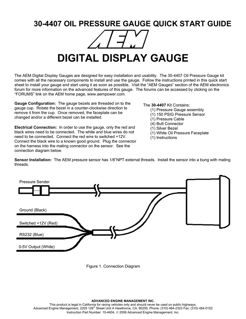 Oil Pressure Sensor Wiring Diagram