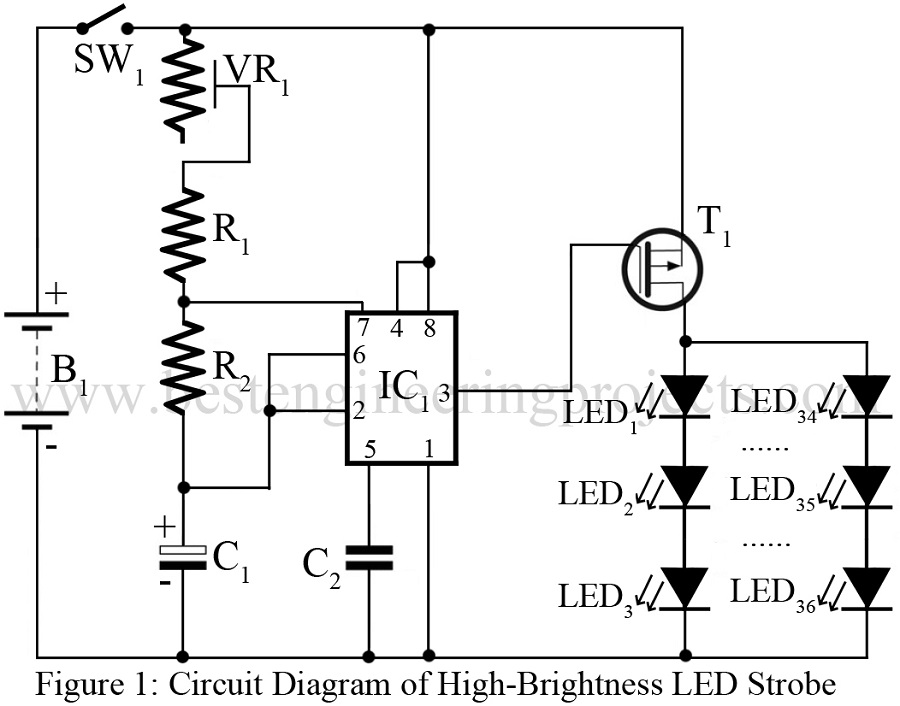 Groovy High Brightness Led Strobe Using Ic 555 Engineering Projects Wiring Cloud Ostrrenstrafr09Org