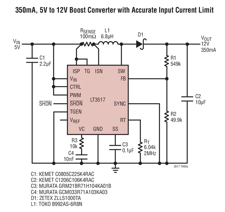 Phenomenal Lt3517 350Ma 5V To 12V Boost Converter With Accurate Input Current Wiring Cloud Overrenstrafr09Org