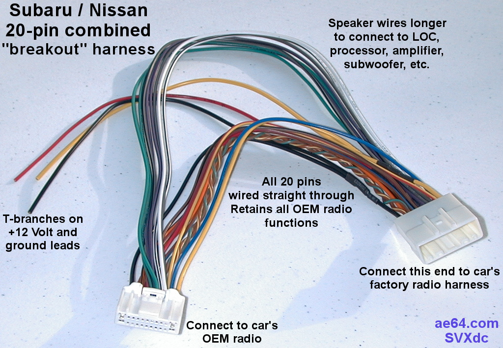 Miraculous 20 Pin Combined Wiring Harness For Subaru Impreza Forester Wiring Cloud Itislusmarecoveryedborg