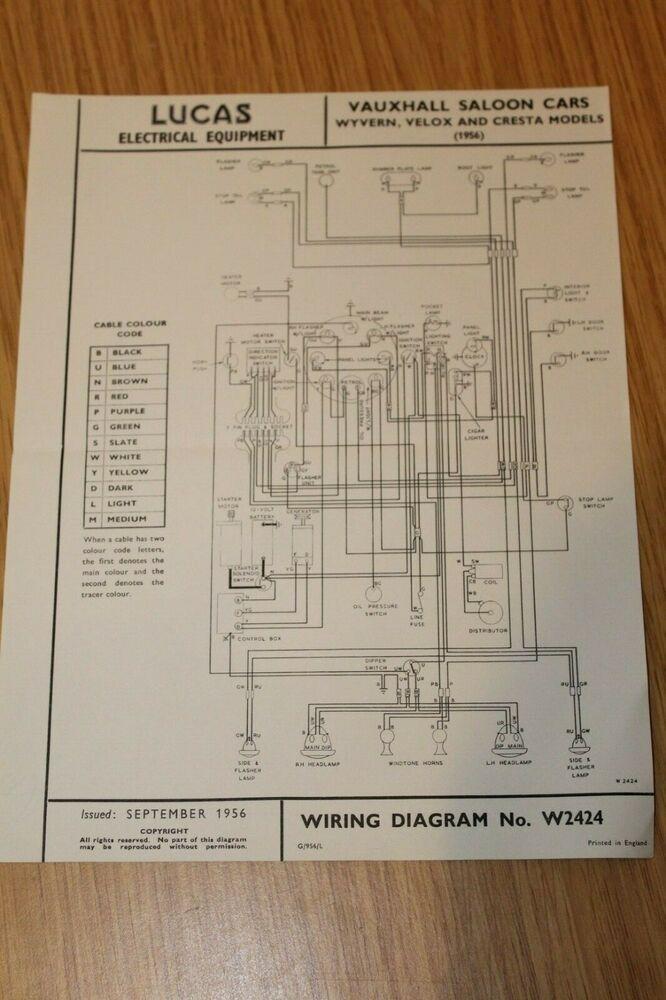 Excellent Vauxhall Wyvern Velox Cresta Models 1956 Lucas Wiring Diagram Ebay Wiring Cloud Overrenstrafr09Org