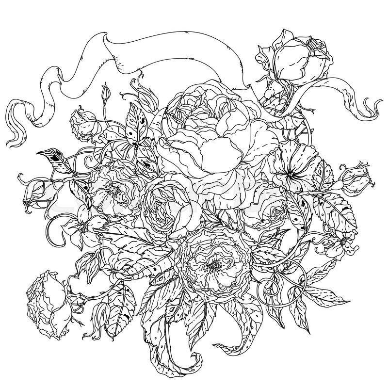 Admirable Hand Drawing Wreath Black And White Flower Mandala Stock Auto Wiring Cloud Timewinrebemohammedshrineorg
