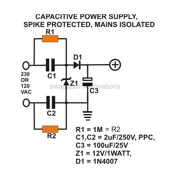 Awe Inspiring How To Build A Low Cost And Efficient Transformerless Power Supply Wiring Cloud Overrenstrafr09Org