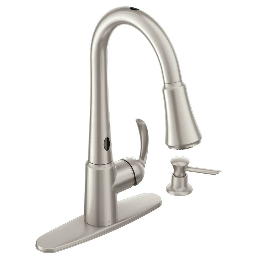 Terrific Moen Delaney With Motionsense Spot Resist Stainless 1 Handle Pull Wiring Cloud Gufailluminateatxorg