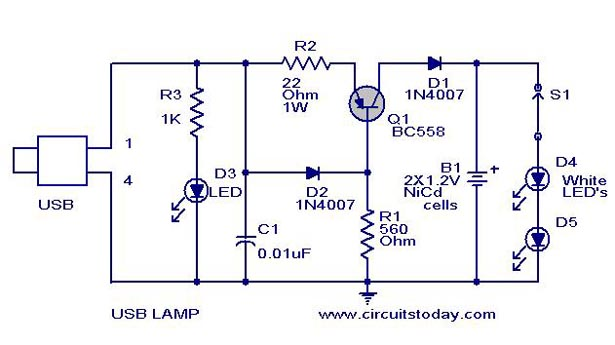 Wondrous Usb Led Lamp Circuit Using 5 Volts Using Bc558 Transitor Wiring Cloud Onicaalyptbenolwigegmohammedshrineorg