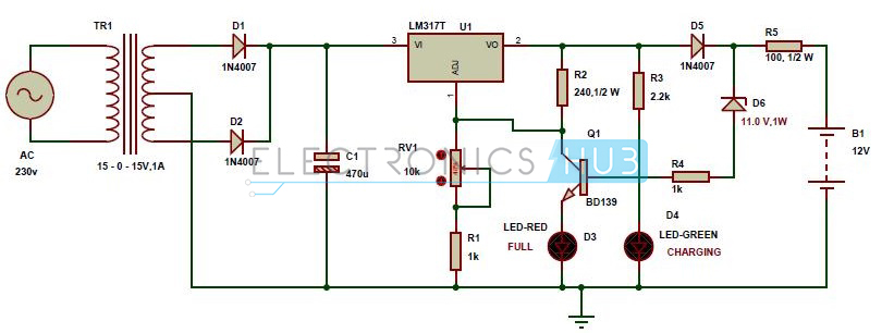 Marvelous Automatic 12V Portable Battery Charger Circuit Using Lm317 Wiring Cloud Onicaalyptbenolwigegmohammedshrineorg