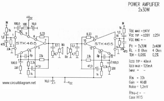 Brilliant 2 X 30W Audio Amplifier With Stk 465 Electronic Schematic Diagram Wiring Cloud Eachirenstrafr09Org