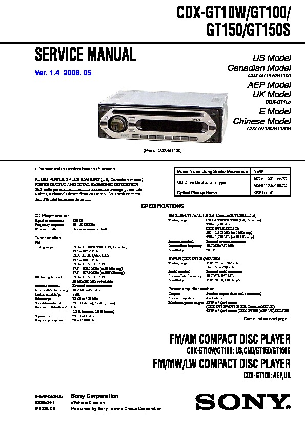 Sony Fm Am Compact Disc Player Wiring Diagram