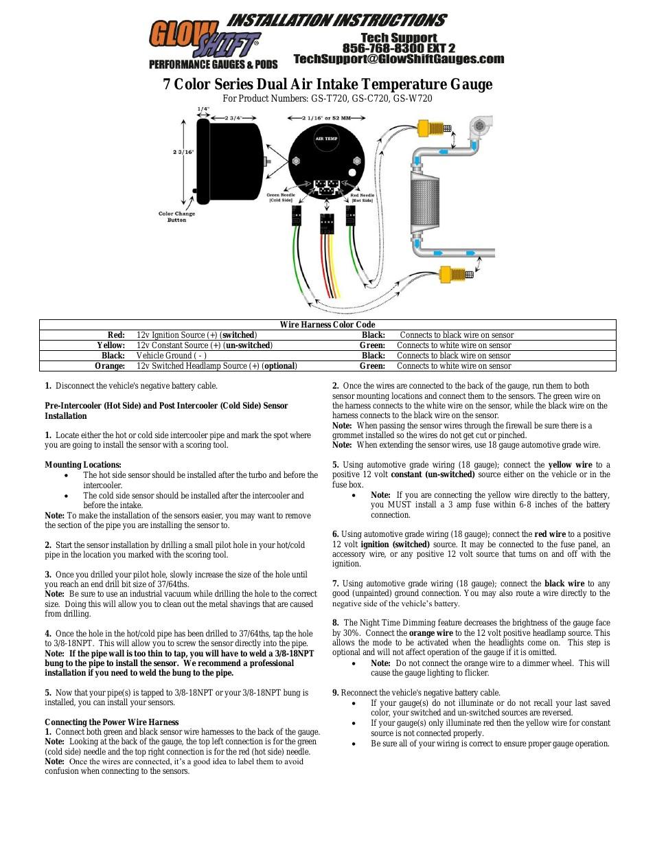 Glowshift Air Pressure Gauge Wiring Diagram