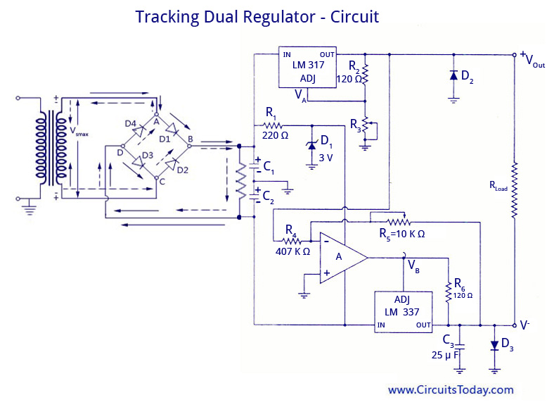 Swell Dual Voltage Supplies Power Supply Using Lm 320 And Lm 340 Working Wiring Cloud Eachirenstrafr09Org
