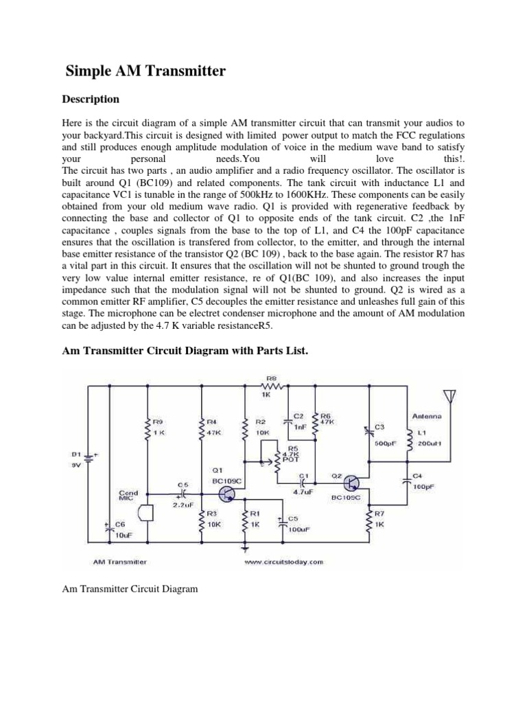Magnificent Simple Am Transmitter Amplifier Electronic Circuits Wiring Cloud Hemtegremohammedshrineorg