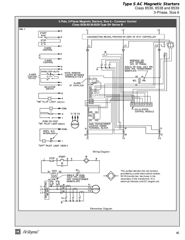 aa0158 square d motor starter wiring diagram phase 3 wire