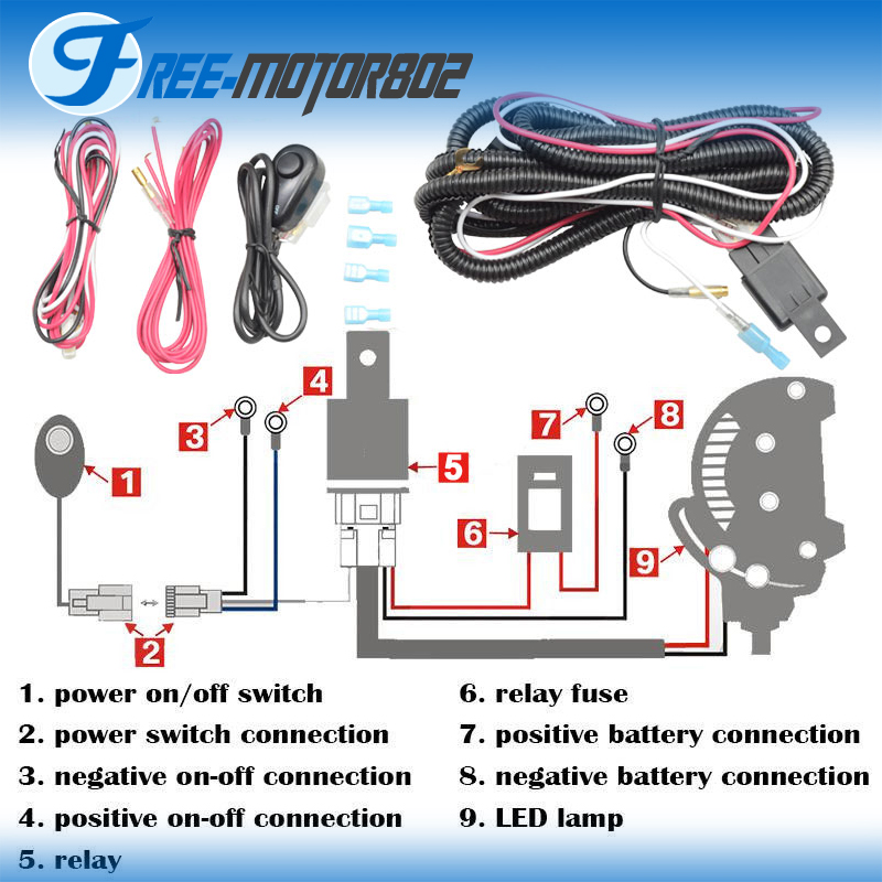 Admirable Universal Led Light Bar Fog Light Wiring Harness Kit 40A 12V Switch Wiring Cloud Genionhyedimohammedshrineorg