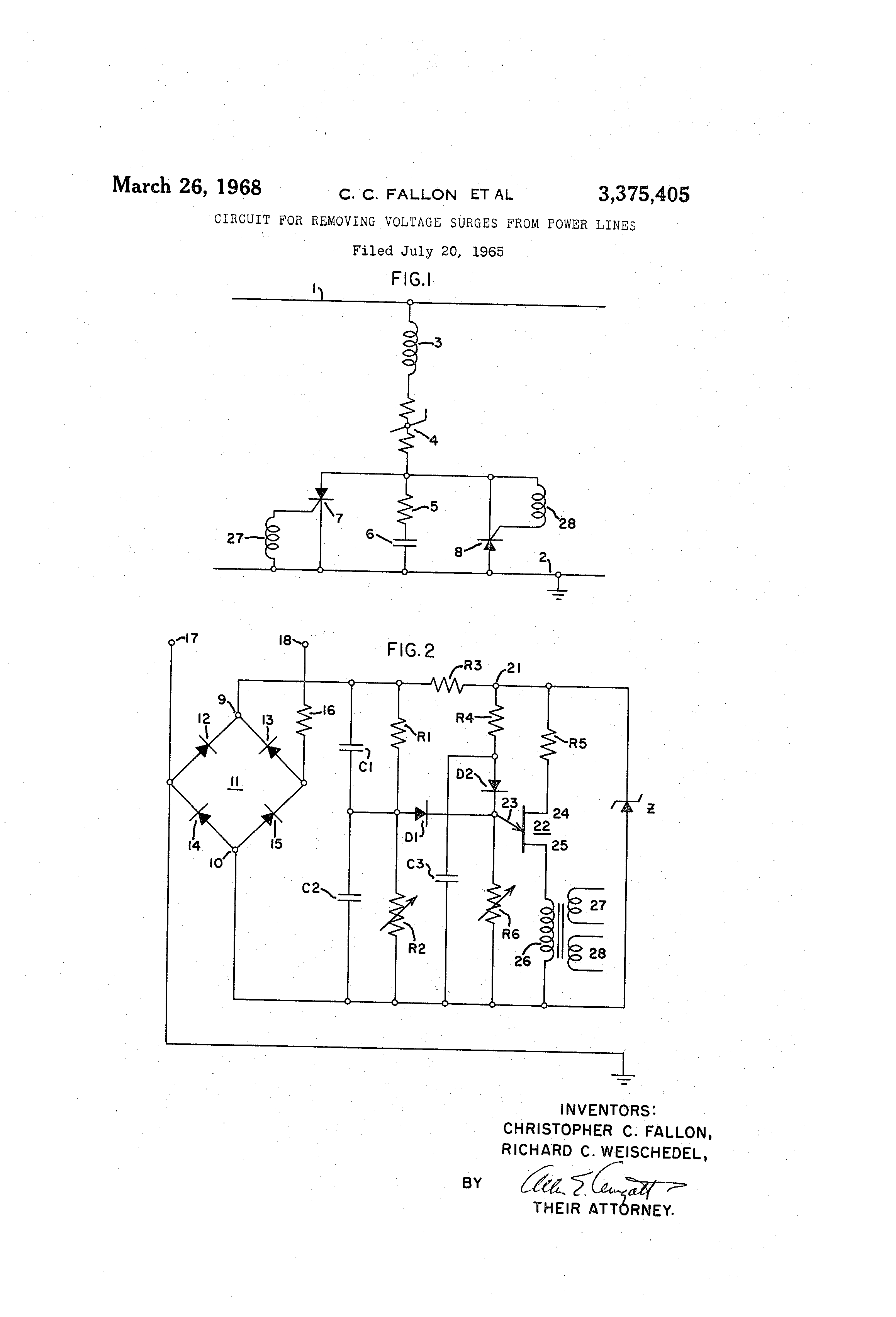Super Patent Us3375405 Circuit For Removing Voltage Surges From Power Wiring Cloud Domeilariaidewilluminateatxorg