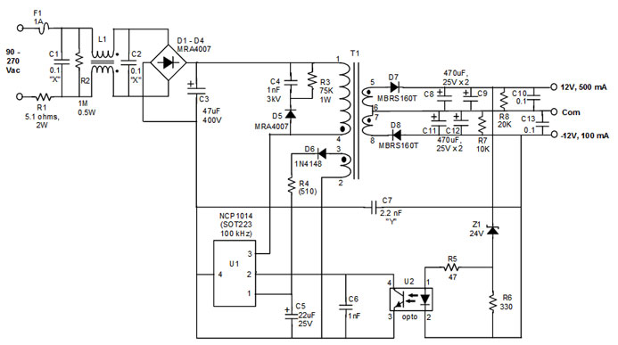 wiring diagram for ac adapter ys 0960  dual power supply using l165 electronic circuits and  dual power supply using l165 electronic