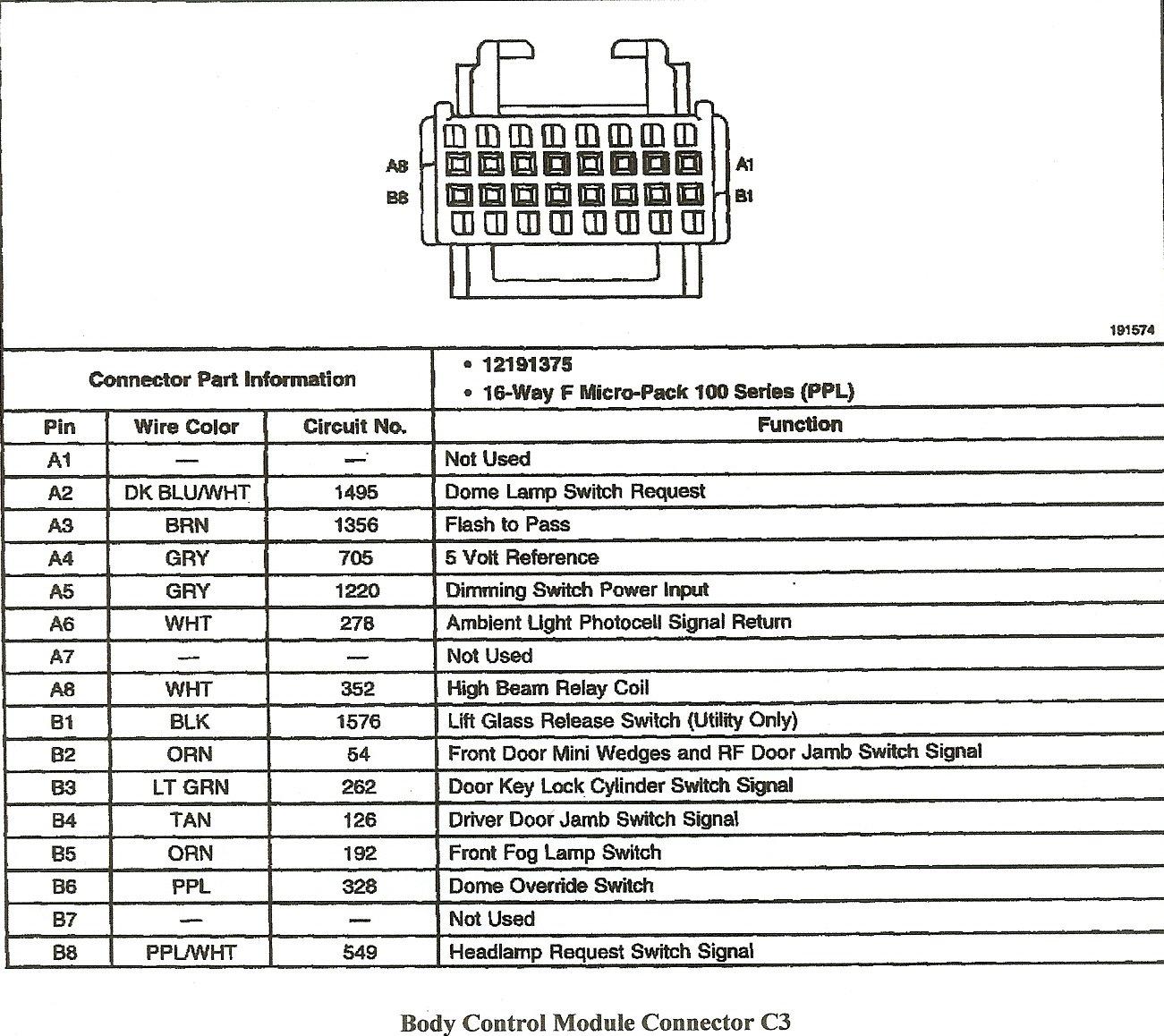 2000 Chevy Silverado Bcm Wiring Diagram