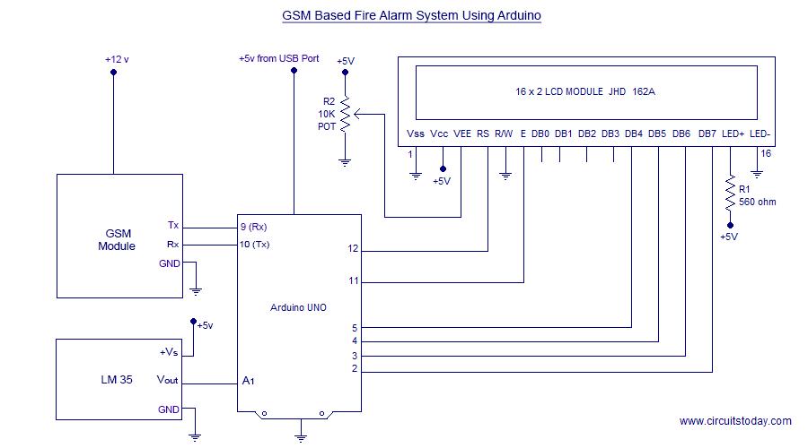 Wondrous Gsm Based Sms Alert Fire Alarm System Using Arduino Wiring Cloud Xortanetembamohammedshrineorg