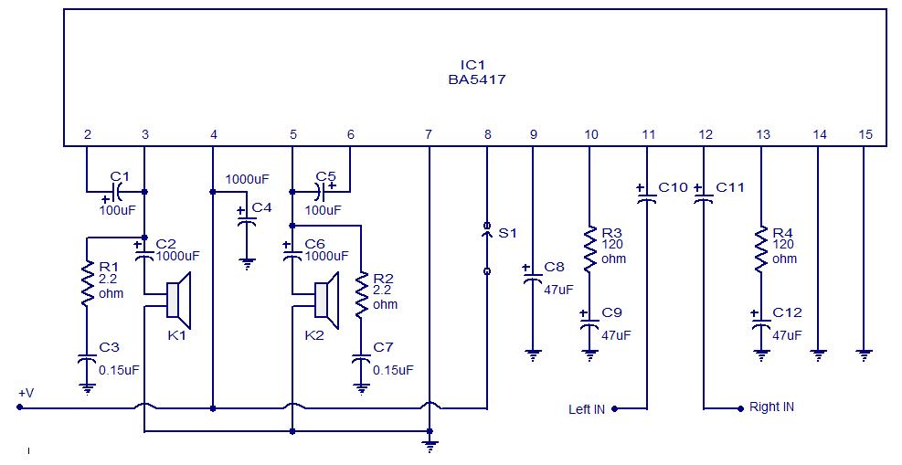Phenomenal 5X2 Wattt Stereo Amplifier Circuit Using Ba5417 Operates From 12V Wiring Cloud Onicaxeromohammedshrineorg