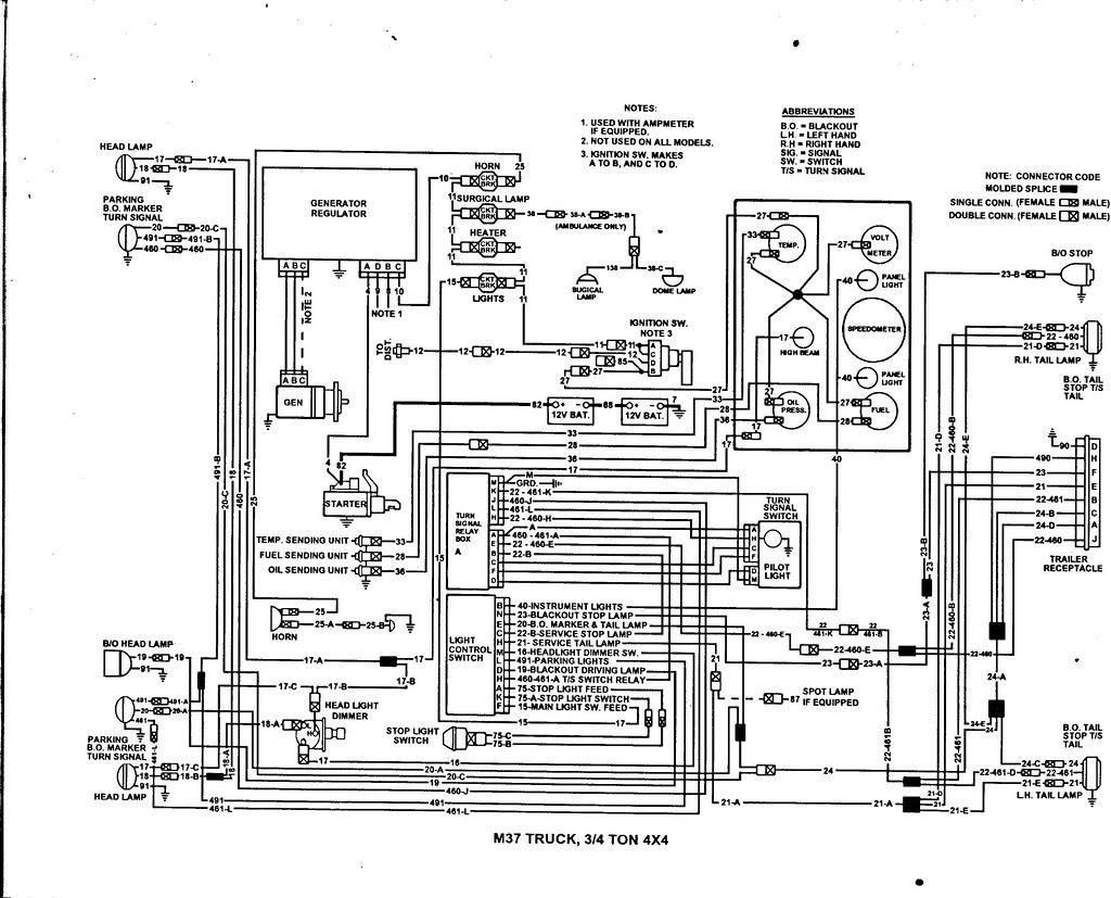 Dodge M37 Instrument Panel Spider Wiring Harness G