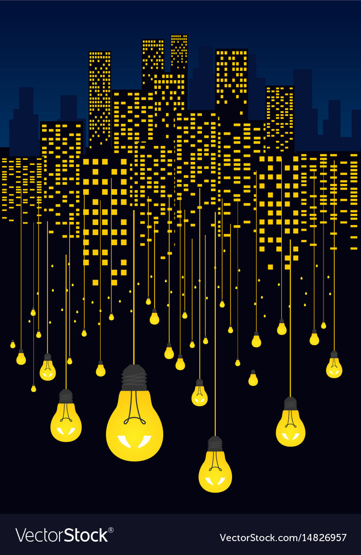 Awesome Night City And Light Bulbs Hanging On Wires Vector Image Wiring Cloud Onicaxeromohammedshrineorg