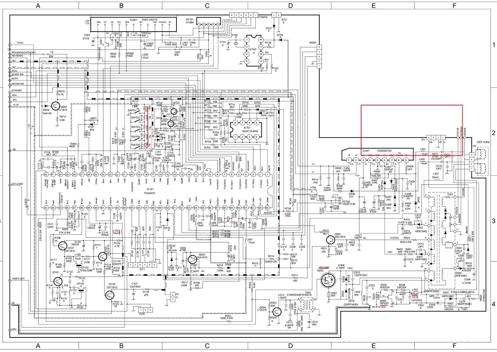 3 tv wiring diagram yb 0297  tv circuit  yb 0297  tv circuit