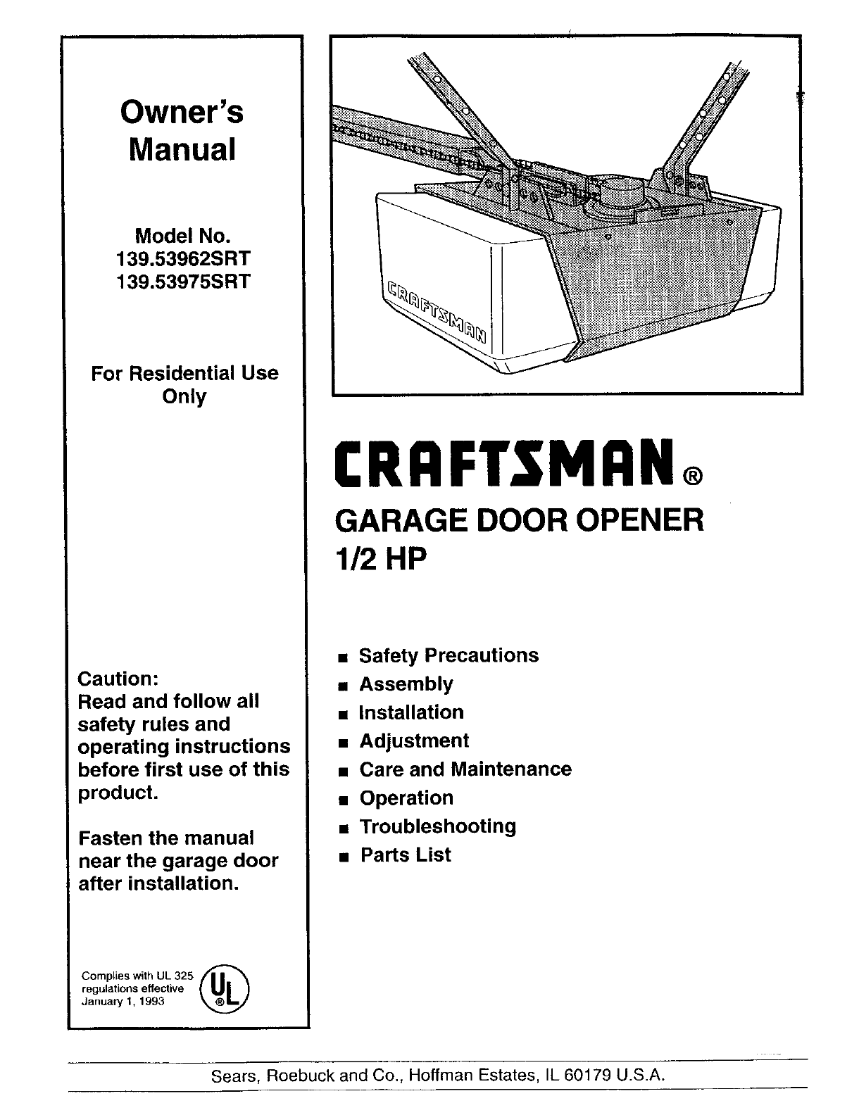Liftmaster Professional 1 2 Hp Owners Manual