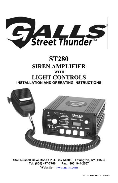Galls Street Thunder Siren Control ST105 ST110 ST160 ST240 ST280 Cable Wire Plug