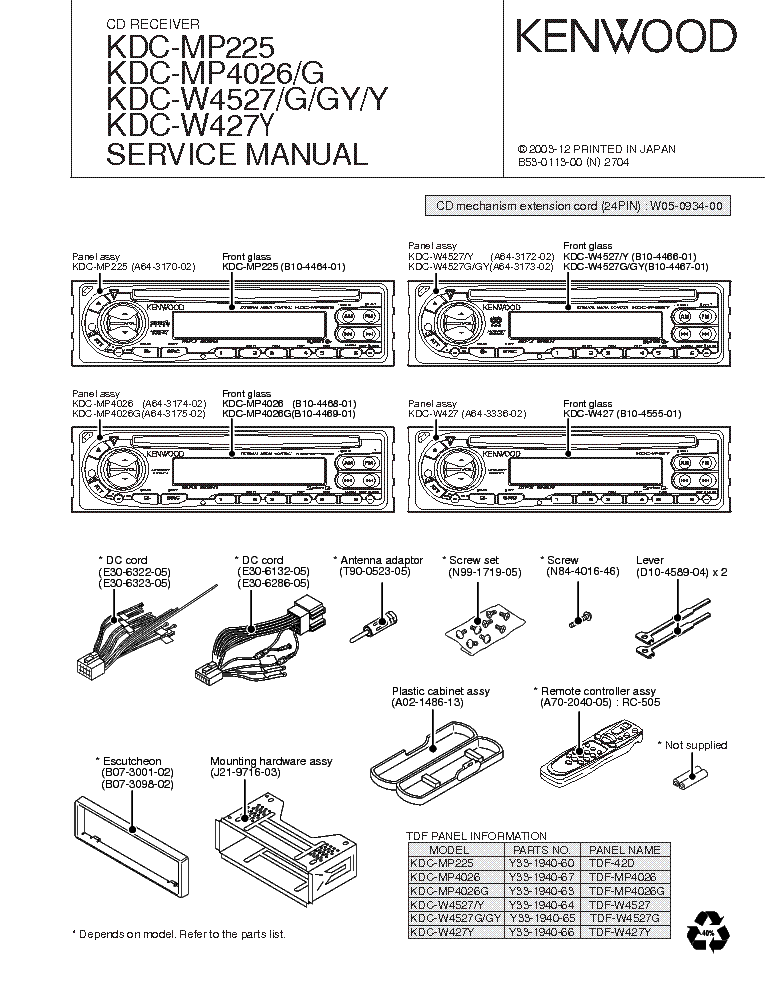 Kenwood Kdc Mp225 Wiring Diagram