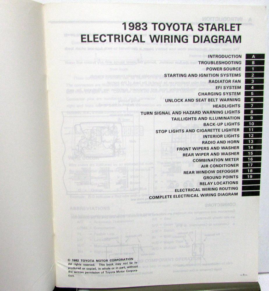 Toyota Starlet Electrical Wiring Diagram