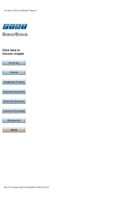 Remarkable Fiat Bravo A Service Manual Volume 2 Click Here To Choose Chapter Wiring Cloud Cranvenetmohammedshrineorg