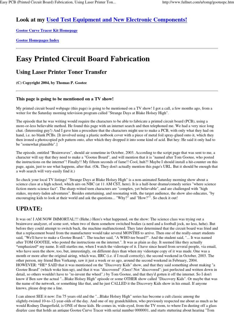 Tremendous Download Easy Pcb Printed Circuit Board Fabrication Using Laser Wiring Cloud Hemtshollocom