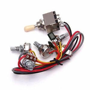 Cool 1Pcs Wiring Harness 3 Way Toggle Switch 2V2T 500K Pots Jack Les Wiring Cloud Itislusmarecoveryedborg